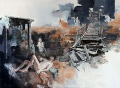 Julien Spianti, Loth's daughters in Zoara, 2011, Oil on canvas, 130 x 97 cm, Private collection, Lille ©