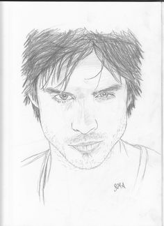 damon ian somerhalder vampire diaries drawing drawings salvatore stefan easy sketch sketches realistic pencil face vampires coloring portrait brothers paintings