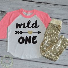 Wild One Birthday Shirt and Gold Sequin Sparkle Pants. Perfect for your little one to wear on her birthday or all year round. This outfit makes a great photo prop! We at Bump and Beyond Designs love t
