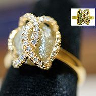 14K Gold Plated Caged Raw Diamond Ring