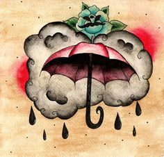 Umbrella Clouds Rain Rose Storm Painting 1 OF A KIND by megdeblois, $25.00