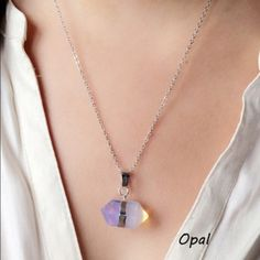 Opal gemstone necklace On a silver tone chain Bohemia Jewelry Necklaces