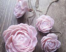 Wedding jewelry set, flower jewelry, peony rose, wedding bridal, flower set, polymer clay flowers, flower touch, pastel pink jewelry, bridal