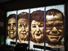 Tape art - Street art piece created out of brown packing tape only. Four portraits of residents of senior hostel at Bülowstraße. Berlin 2017. Artist: https://tape-art-ostap.com/ #tapeart #streetart