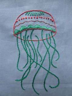 Free Embroidery Pattern: My Jellyfish  •  Free tutorial with pictures on how to embroider art in 7 steps