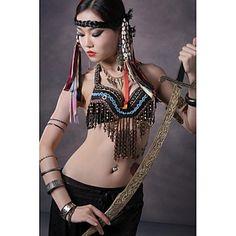 Dança do Ventre Blusas Mulheres Actuação Algodão Metal Moedas de Bronze