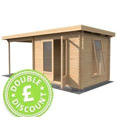 £1649.95 + extras. 2.5m x 5.5m Waltons Zen log cabin.  http://www.waltons.co.uk/25x55-zen-log-cabin-beco182