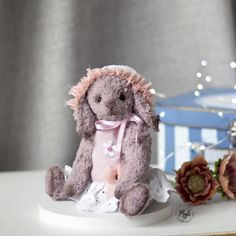 Rabbit art, teddy, handmade, doll Rabbit Art, Teddy Bear, Dolls, Handmade, Animals, Bunny Art, Baby Dolls, Hand Made, Animales