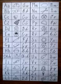 Písmena se postupně vybarvují podle toho, jak se je děti učí - formát A1. Alphabet Writing, Kids Writing, Kids Education, Grade 1, Back To School, Homeschool, Classroom, Teacher, Activities