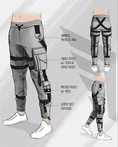 Jacket Drawing, Pants Drawing, Drawing Clothes, Cyberpunk Clothes, Cyberpunk Fashion, Urban Fashion, Mens Fashion, Fashion Outfits, Anime Pants