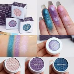 #SWATCHES 😍💜 From the upcoming NEW Collaboration  @colourpopcosmetics X @amandasteele  #SuperShockShadow in 3 shades: #Hydroplane - Ultra #Glitter *Such a gorgeous teal shade  #Ignition - Metallic #Love  #Steele - Mettallic  Will be available ➡️ DECEMBER 26TH on their website I'm #obsessed with the Lilac and Teal shades! At first I was just ok with the color choice for the eyeshadow palette BUT when u look at it as a collection with these Super Shock Shadows, u realize you can create…