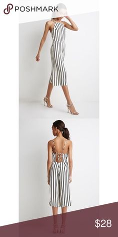 F21 Striped Culotte Jumpsuit Gorgeous, black and white culotte jumpsuit. Open back with tie. In perfect condition. Will be uploading photos of actual item soon. Open to offers and questions.  Forever 21 Pants Jumpsuits & Rompers