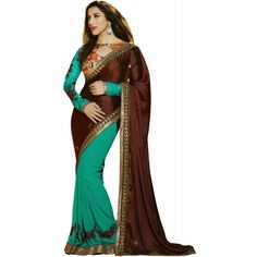 Designer Brown & Green Georgette Embroidered Party Wear Saree -69(SS-Karma)