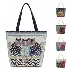 eed5edc2e6 Cat Print Canvas Women s Tote Summer Beach Shoulder Bag in 12 Different  Designs Canvas Prints
