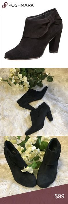 """Kate Spade ♠️ bison suede booties Like new condition! Kate spade ♠️ bison black suede booties. Suede and heel was kept in excellent condition. Only bottom of shoe shows normal ware. A gathered bow accents one side of a lush suede bootie with a chunky stacked heel. Approx. heel height: 3"""". Suede upper/leather lining and sole. By kate spade New York. Size 7"""" kate spade Shoes Ankle Boots & Booties"""