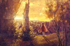 иллюстрация, арт, скетч, лес, сказка, закат