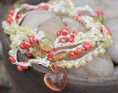 Wrap Bracelet: Crocheted White S-Lon Cord with Shiny Yellow & Pink Seed Beads and Clear Yellow Oval Beads