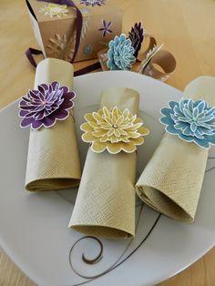 Stampin´up! Flower Patch Blüten für den nächsten Kaffee-Klatsch! Serviettenringe blitzschnell gemacht! :)