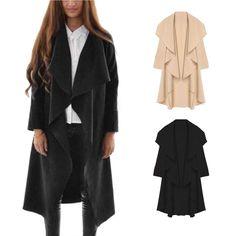 Fashion Women's Slim Long Coat Jacket Trench Windbreaker Parka Outwear Cardigan #Unbranded #Trench