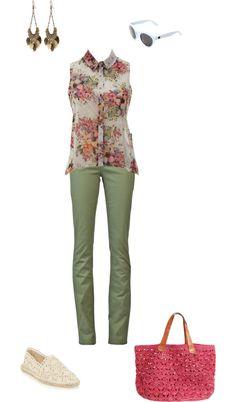 Een losse top met bloemetjesprint gecombineerd op een kaki skinny.
