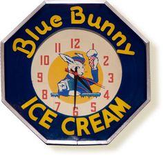 Blue Bunny ICE CREAM clock - probably still keeps perfect time. Vintage Signs, Vintage Clocks, Vintage Items, Cream Clocks, Blue Bunny Ice Cream, Ice Cream Museum, Rock Around The Clock, Unusual Clocks, Vintage Ice Cream