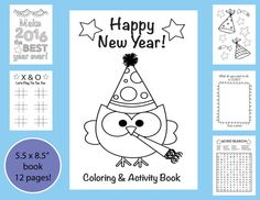 New Years Coloring & Activity Book by VividBlissPrintables on Etsy