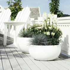 Garten Generous, curvy planters, green arrangements and adirondack chairs, refreshing cosiness How C Container Plants, Container Gardening, Back Gardens, Outdoor Gardens, Unique Garden, Outdoor Flowers, White Gardens, Backyard Landscaping, Pergola Patio