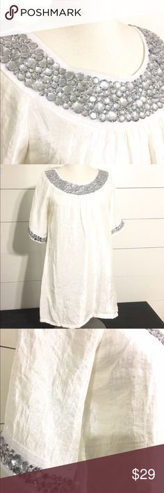 FAB RIK GLAM Gorgeous Jeweled Top / Tunic / Shirt This gorgeous top/ tunic is NEW WITH TAGS! Originally $92.00! This is perfect for any party! Christmas, New Years and beyond! 🎉 You'll be sure to wow everyone in this! Please comment with any questions! I'm happy to help! Thanks so much! fab rik Tops
