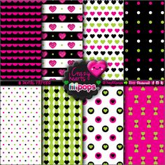 Hearts Digital Paper Printable Paper Kawaii Digital Paper Party Digital Paper Valentine's Day Annyversary Celebration Paper Cute (2.50 USD) by LetsPaperUp