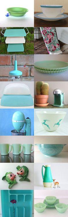 Green and Aqua Kitchen by Sky Smith on Etsy--Pinned with TreasuryPin.com
