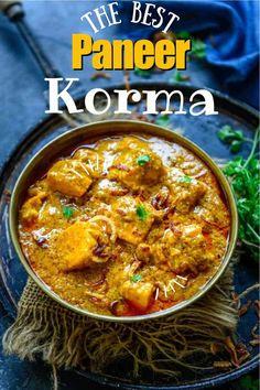 Paneer Korma Recipe, Paneer Curry Recipes, Vegetarian Curry, Vegetarian Dinners, Indian Food Recipes, Asian Recipes, Ethnic Recipes, Tandoori Roti, Lunches