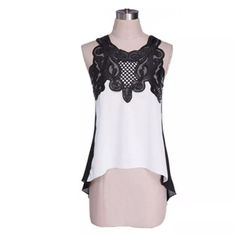 ON REORDER! Black and White Lace Top, High-Low Hem White sleeveless top with black lace embellishment, high-low hem, great drape and style.  Dresses up with a skirt and down with jeans and flats.  More of these are on order!  Leave me a comment and I'll tag you when they arrive! (A5) Tops Tunics