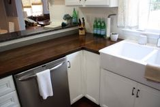 3 ways to update your kitchen counters on a budget: paint old laminate, install concrete counters, install butcher block (Ikea offers an affordable butcher block!)