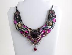 Calypso necklace ON SALE at www.madineurope.eu - #beadembroidery #necklace #japanese #seed #beads #rubis #soizite #swarovski #fashion #elegance #handmade #madineurope #accessories #shopping