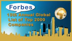 Forbes 13th Annual Global List of Top 2000 Companies, China Holds Top Four Slots Out of Five