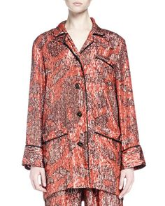 LANVIN Long-Sleeve Metallic-Print Pajama-Inspired Top, Fire Red. #lanvin #cloth #