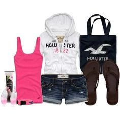 A fashion look from February 2013 featuring pink shirt, Hollister Co. and ripped shorts. Browse and shop related looks. Hollister Style, Hollister Clothes, Hollister Girls, Hollister Outfit, Abercrombie Girls, Summer Wear, Summer Outfits, Girl Outfits, Fashion Outfits