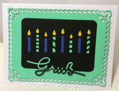 Karte mit Kerzen von Sizzix®, (Stempel)Gruß von Stampin' Up!® und Borte von Spellbinders