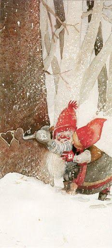 Not Inge Look but cute gnome pic. Swedish Christmas, Christmas Gnome, Scandinavian Christmas, Christmas Art, Vintage Christmas, Illustration Noel, Illustrations, Vintage Cards, Faeries
