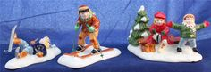 Department 56 Original Snow Village Set of 3 Skaters and Skiers 56.54755