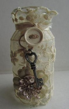 altered glass bottle vintage lace shabby chic victorian style romantic cottage Pretty sweet, like neutral colors by noelle