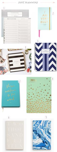 Stylish 2015 Planners and Agendas: http://ohsobeautifulpaper.com/2015/01/seasonal-stationery-stylish-2015-planners-and-agendas/   1. Laurel Denise; 2. Ban.do; 3. Sarah Pinto; 4. Paper Source; 5. + 6. Julia Kostreva; 7. Kate Spade; 8. The Day Designer   Click through for full links and resources!