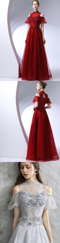 #Red Prom Dress #Beading Prom Dress #High Neck prom dress #cheap prom dress #lace prom dress #beading prom dress #2018 prom dress