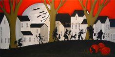 "Original Painting 20"" Folk Art Halloween Costume Kids Dog Bats Black Cat Moon | eBay"