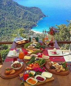 Breakfast with a view in Fethiye, Muğla Province, in the Aegean region, Turkey