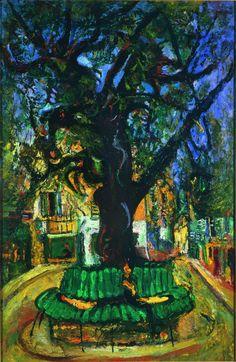 """Cham Soutine,""""Place du village, Vence"""", 1929. Huile sur toile, 70,8 x 45,7 cm, Collection Larock Granoff."""