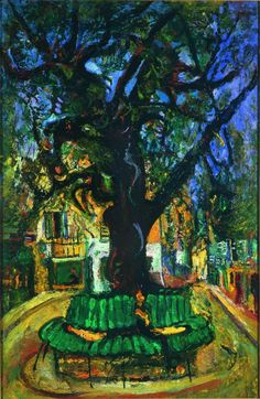 Tree in Vence, 1929 Chaim Soutine. This is a painting of an ash tree, Frêne in French, that still exists in Vence a lovely town worth a visit in the hills not far from Nice on the Côte d'Azur. Vence is famous for its chapel designed by Matisse)