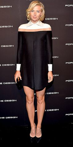 MARIA SHARAPOVA The tennis star serves up a style ace in a long-sleeve Valentino dress with a white collar and cuffs at the Porsche Design and Vogue re-opening event in Beverly Hills.