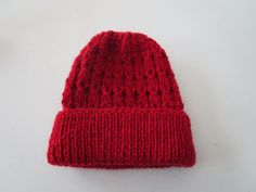 Red Hand Knitted Baby Hat