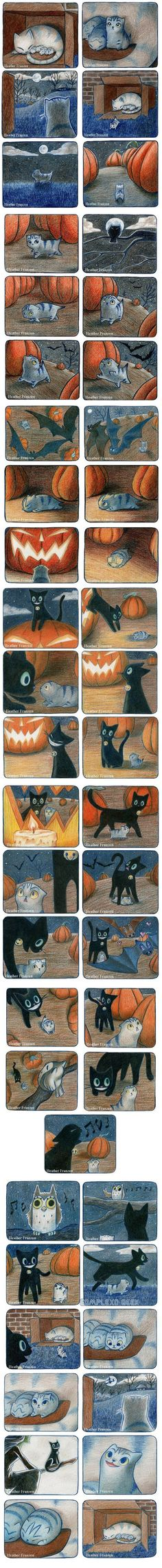 Petite histoire avec un chaton et un chat noir sur le thème d'Halloween. Small story with kitten and a black cat, on the theme of Halloween. so cute ! Crazy Cat Lady, Crazy Cats, I Love Cats, Cute Cats, Funny Animals, Cute Animals, The Meta Picture, Cute Stories, Short Stories